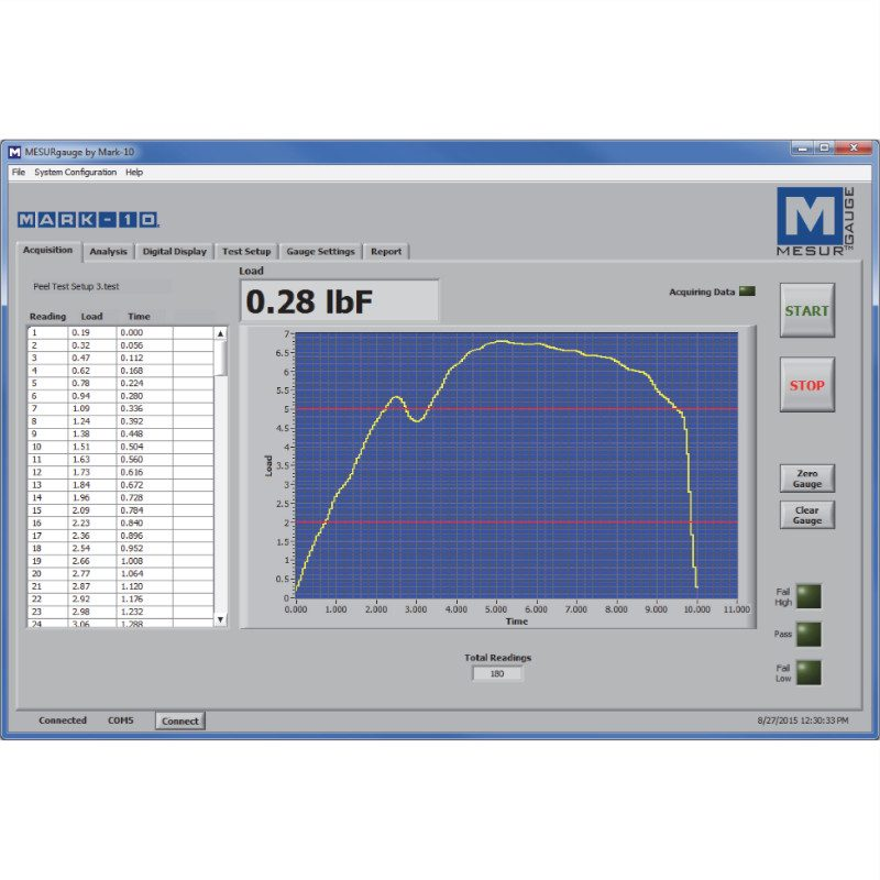 Mark-10 MESURgauge Data Analysis and Collection Software